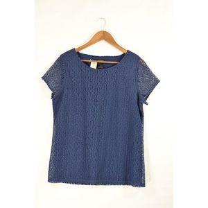 NWT Ann Taylor Blue Navy Lace Blouse